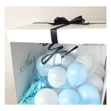Blue White Personalised Gender Reveal Balloon Surprise Box