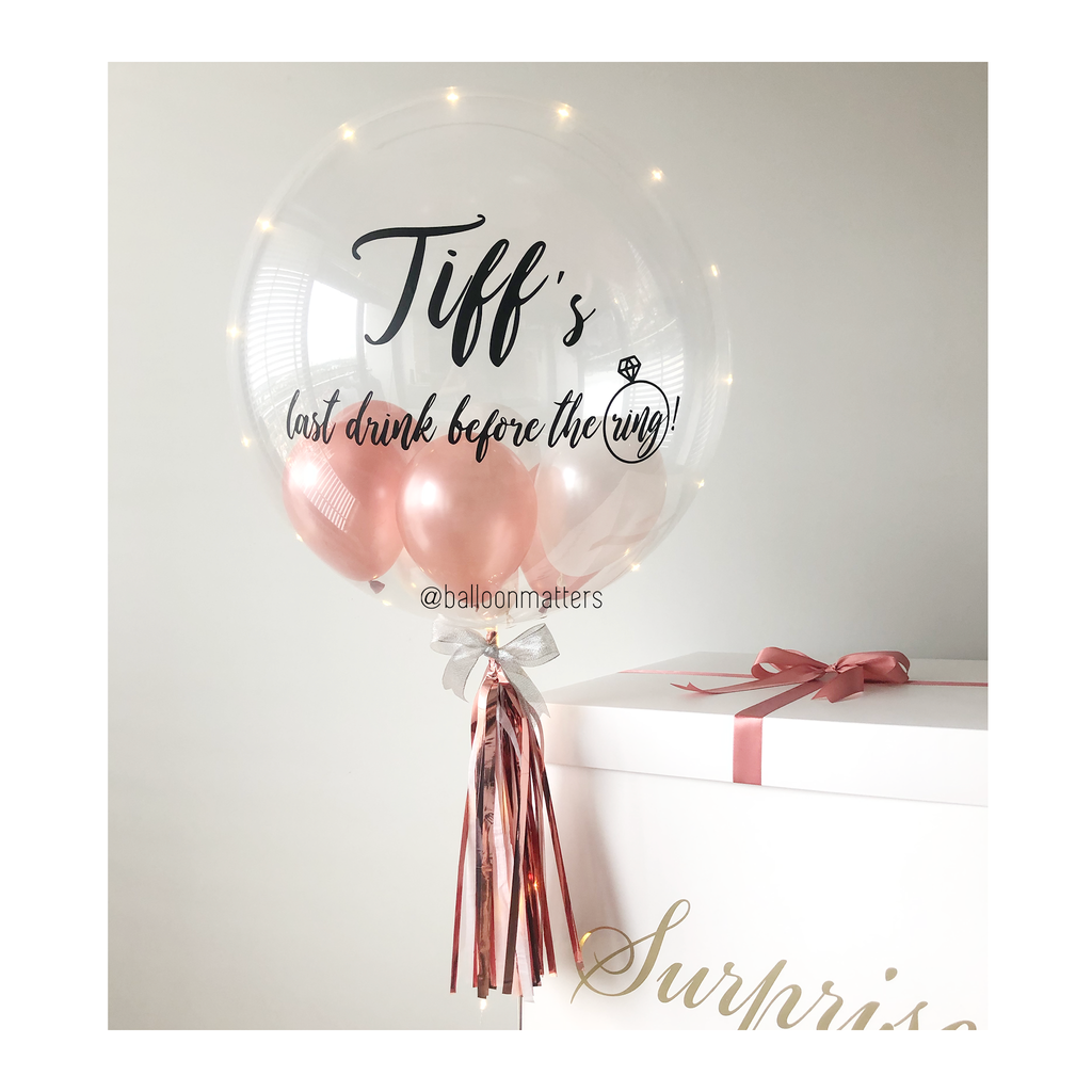Rose Gold White Personalised Balloon Surprise Box