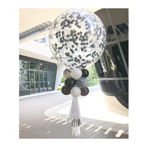 36 inch Giant Monochrome Confetti Balloon
