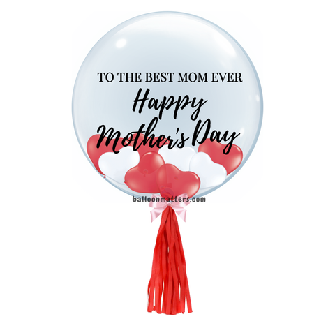 Mother's Day Balloon - Red White Heart