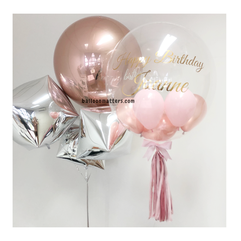 Rose Gold Pink Bubble Balloon & Orbz Balloon Bouquet