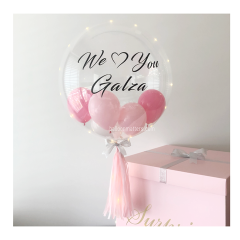 Pink Personalised Balloon Surprise Box