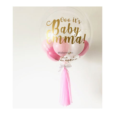 Pink and Gold Confetti Bubble Balloon