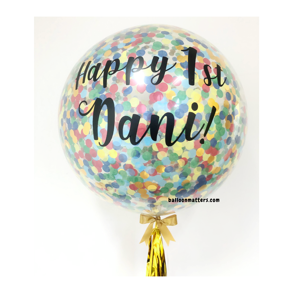 36 inch Giant Rainbow Confetti Balloon