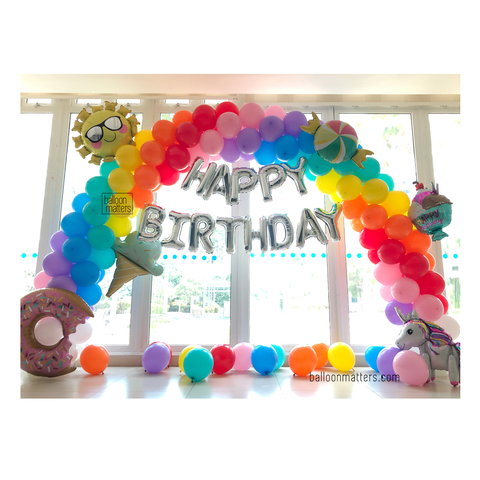 Rainbow Balloon Arch Setup