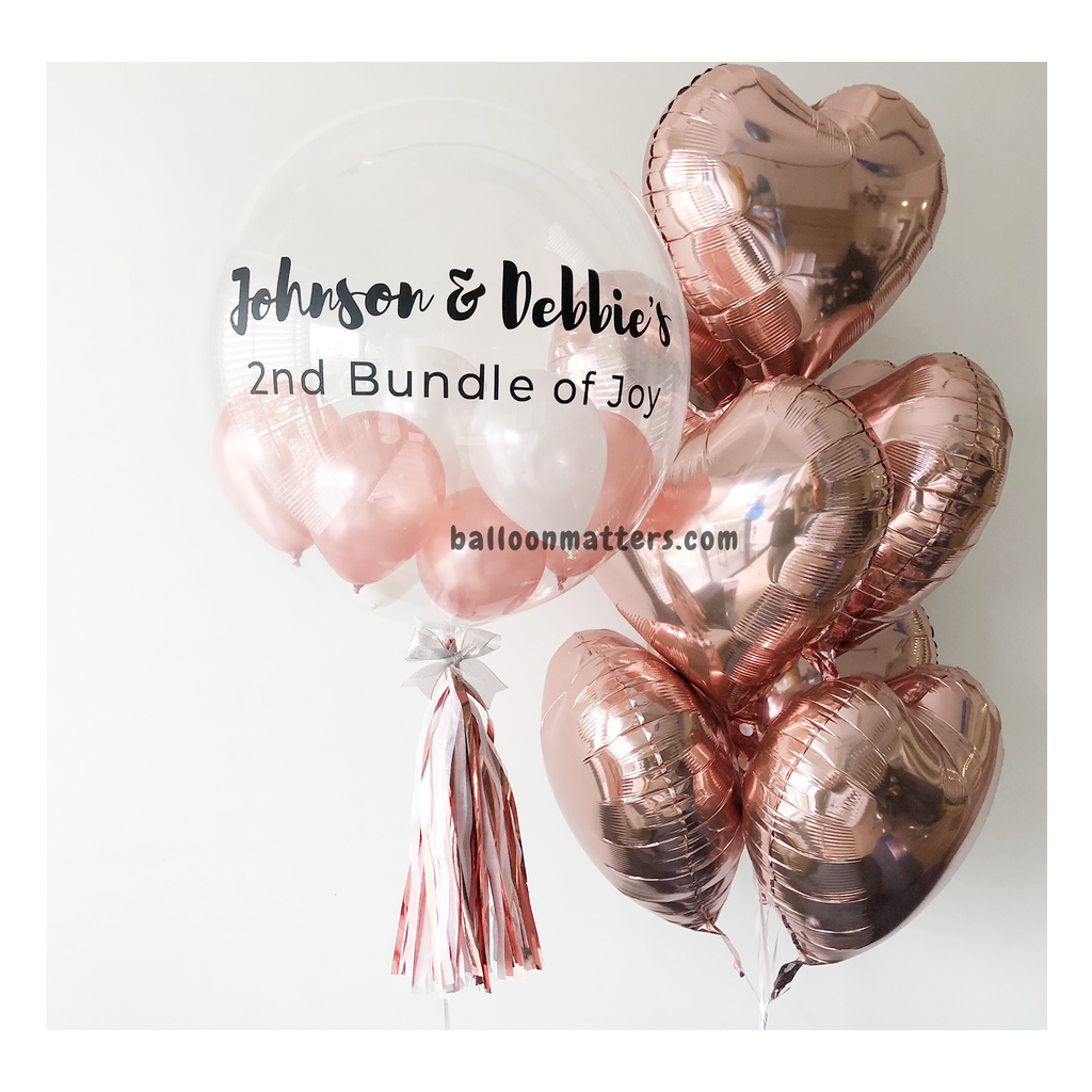 Rose Gold Bubble Balloon with 1 Side Heart Balloons