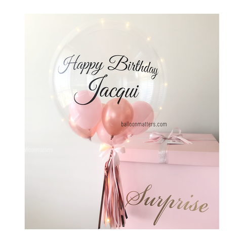 Rose Gold Pink Birthday Personalised Balloon Surprise Box