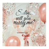 Marry Me Rose Gold Bubble Balloon with 2 Sides Balloons