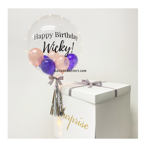 Rose Gold Purple Personalised Balloon Surprise Box