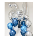 Silver Orbz Balloon with 2 sides Number Balloon Bouquet