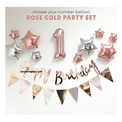 Foil Number Birthday Decor DIY Pack - Rose Gold