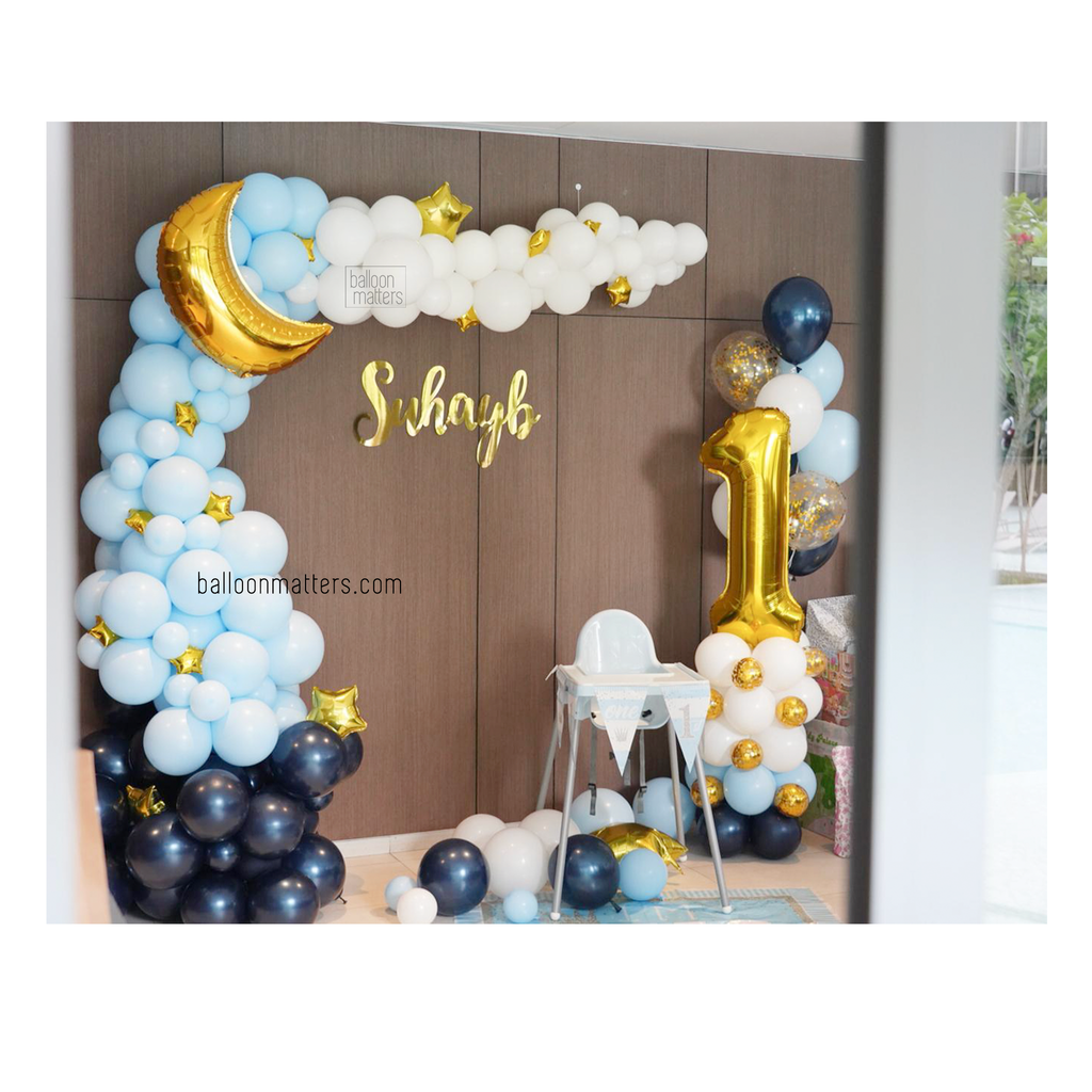 L-Shaped Balloon Garland Setup - Twinkle Twinkle Little Star