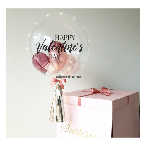 Rose Gold Burgundy Valentine Balloon Surprise Box