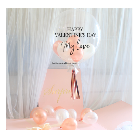 Rose Gold Valentine Balloon Surprise Box
