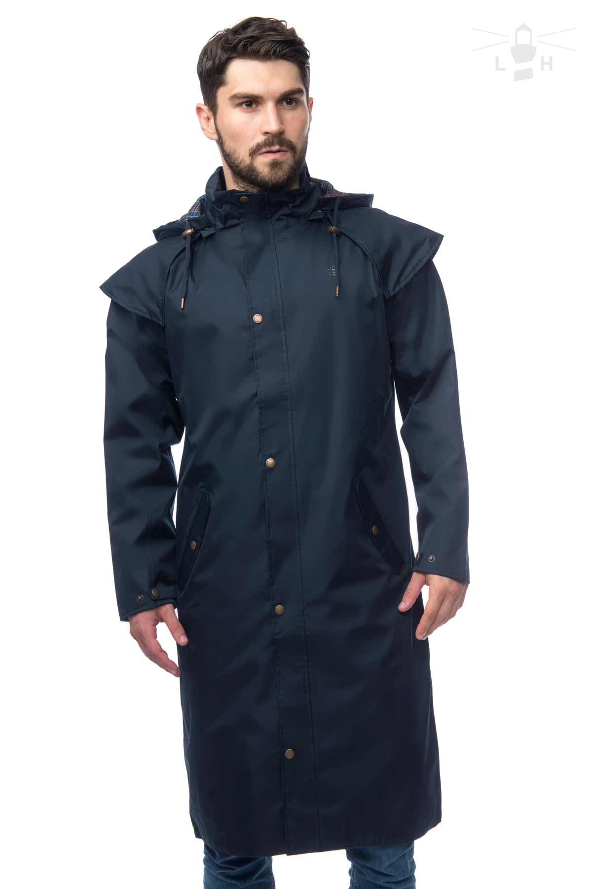 ... Lighthouse Mens Stockman Full Length Waterproof Rain Coat in Navy.  Zipped and buttoned. e2fee14177af