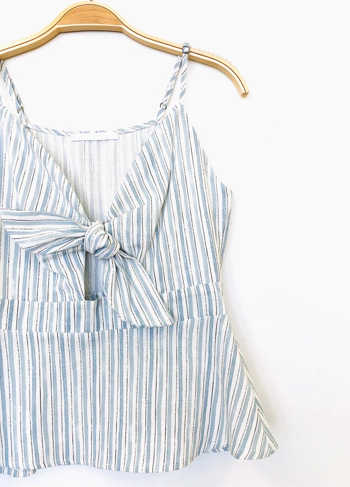 Striped Linen Front Tie Top