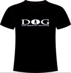 Black V-Neck: White DOG Logo