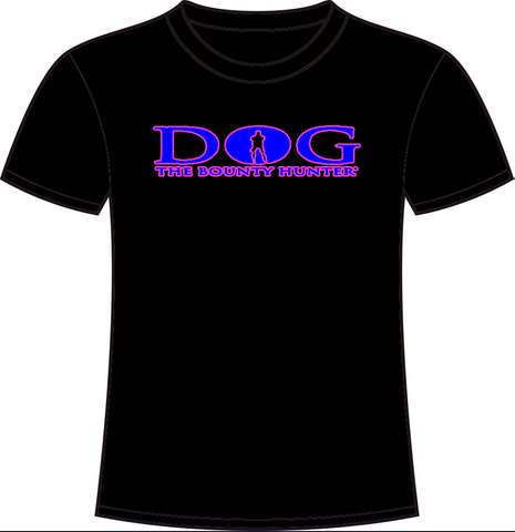 Black Crew Neck: Neon Pink & Blue DOG Logo