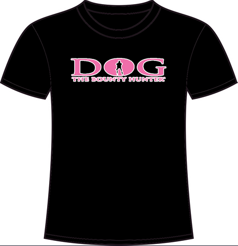 Black Crew Neck: Neon White & Pink DOG Logo
