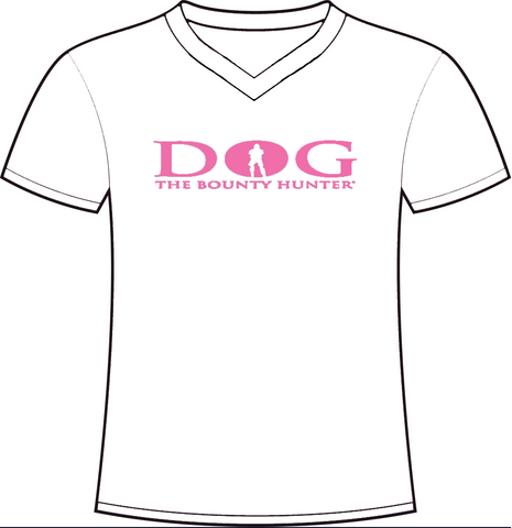 White V-Neck: Pink DOG Logo