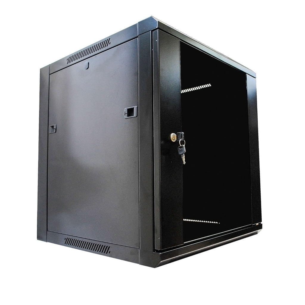 12u Server Rack Cabinet Enclosure Wall Mounted W Locking Glass Door 23 6 Inches Depth