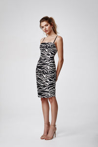 LEXI MIMI DRESS - BLACK/IVORY