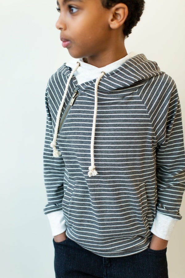 AMPERSAND: Charcoal Stripe YOUTH doublehood