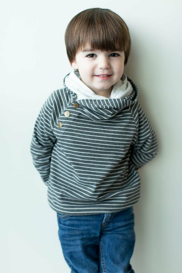AMPERSAND: Charcoal Stripe Kids doublehood