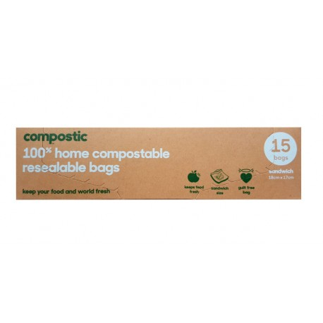 Compostic Sandwich Bags 180 x 170 15 pack