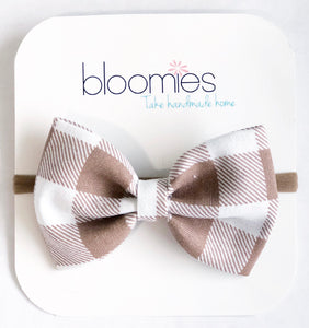 Beige Check Fall Cotton Bow - Bloomies Handmade
