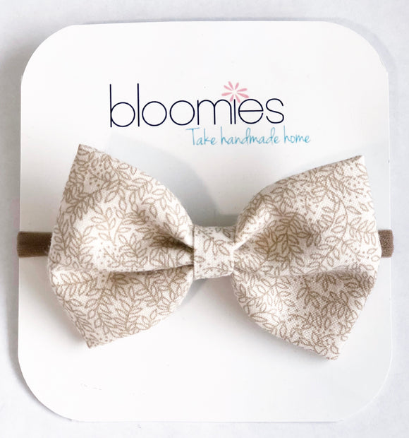 Beige Floral Fall Cotton Bow - Bloomies Handmade