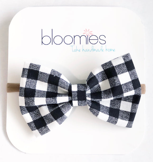 Black Check Fall Cotton Bow - Bloomies Handmade