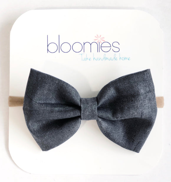 Black Denim Fall Cotton Bow - Bloomies Handmade