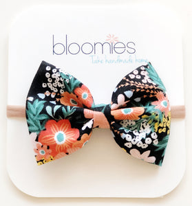 Black Floral Cotton Bow - Bloomies Handmade