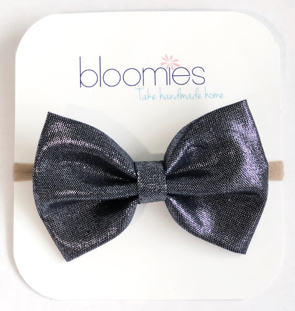 Black Metallic Fall Cotton Bow - Bloomies Handmade