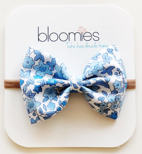Blue Floral Cotton Bow - Bloomies Handmade
