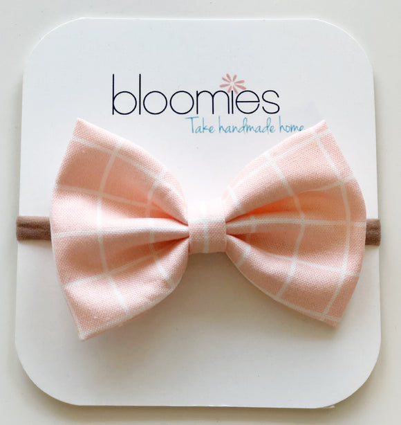 Blush Check Cotton Bow - Bloomies Handmade
