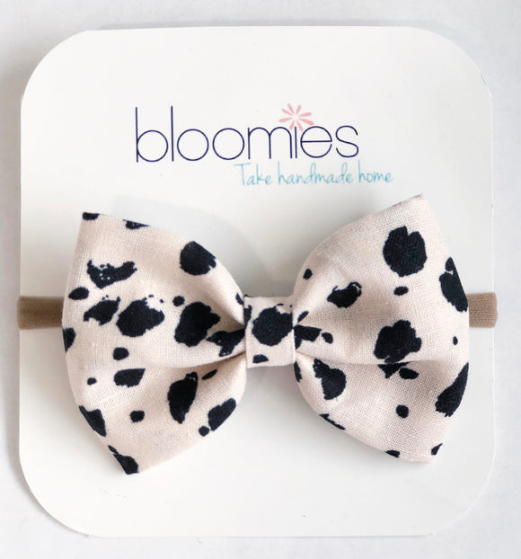 Blush Cheetah  Fall Cotton Bow - Bloomies Handmade