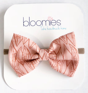 Blush Leaves Fall Cotton Bow - Bloomies Handmade