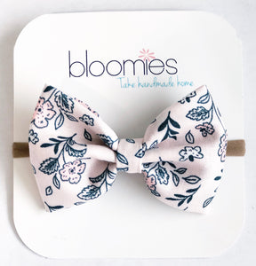 Blush Floral Fall Cotton Bow - Bloomies Handmade
