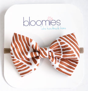 Cinnamon Stripes Fall Cotton Bow - Bloomies Handmade