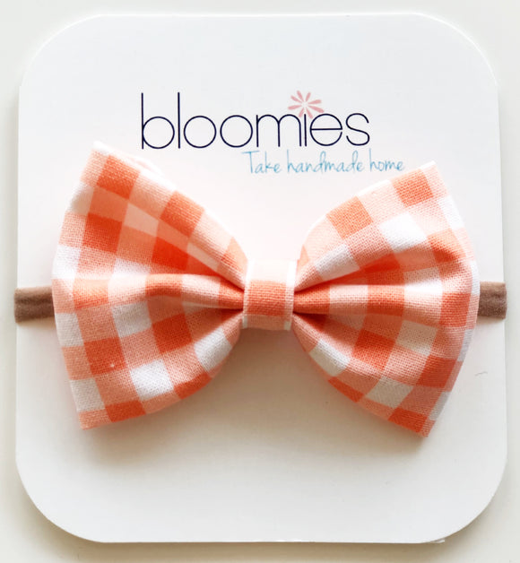 Coral Gingham Cotton Bow - Bloomies Handmade