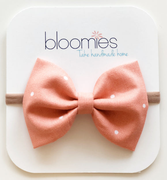 Coral Dot Cotton Bow - Bloomies Handmade