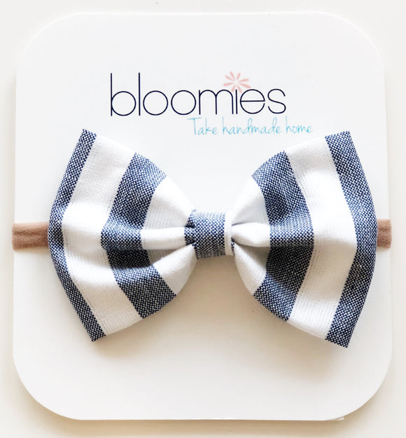 Denim Stripes Cotton Bow - Bloomies Handmade