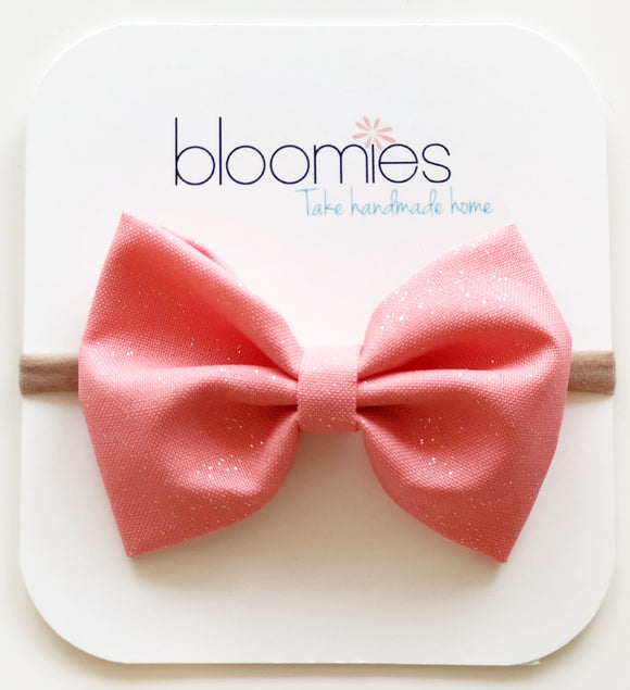 Flamingo Glitter Cotton Bow - Bloomies Handmade