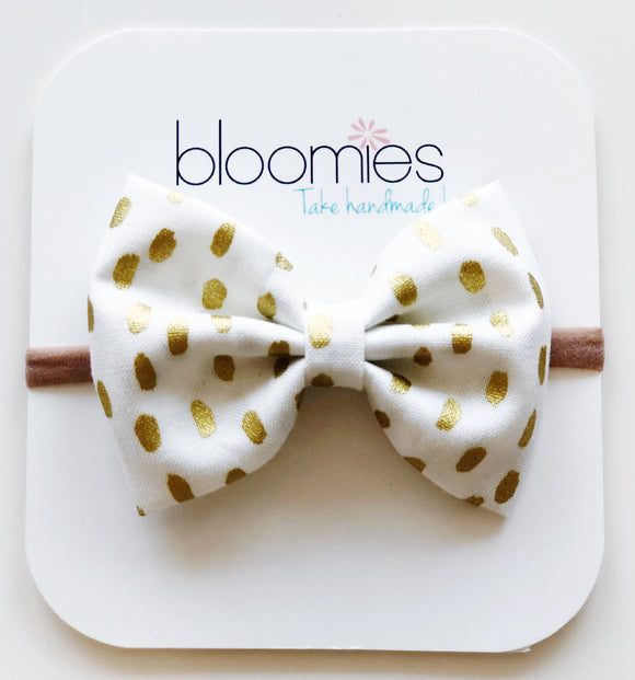 Gold Dash Cotton Bow - Bloomies Handmade