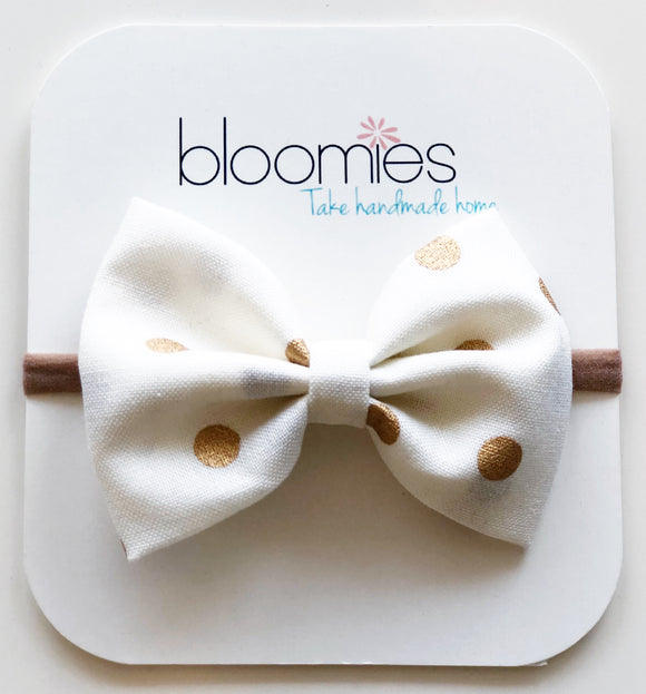 Gold Dot Cotton Bow - Bloomies Handmade