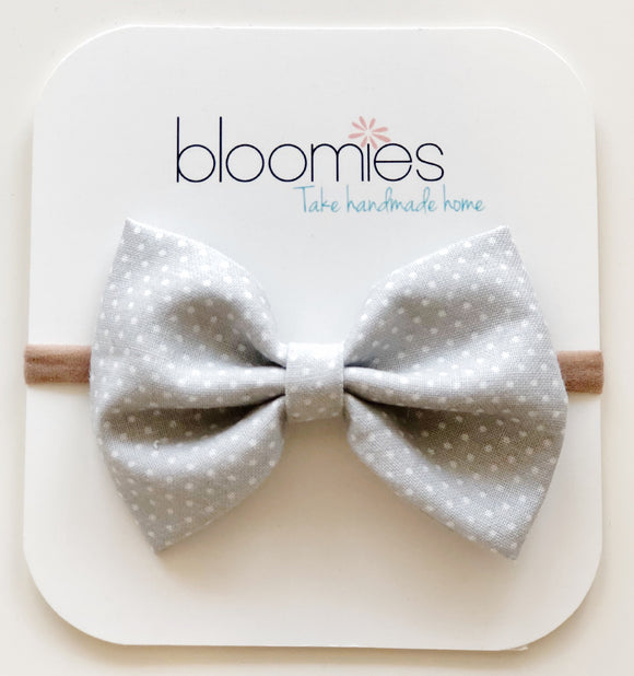 Grey Dot Cotton Bow - Bloomies Handmade