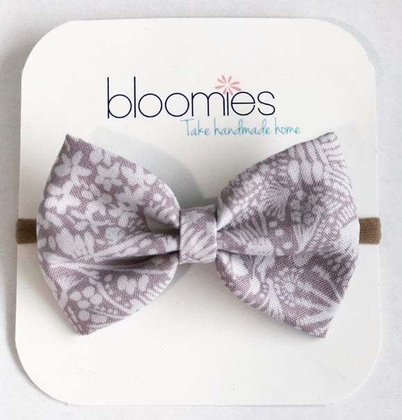 Grey Floral Fall Cotton Bow - Bloomies Handmade