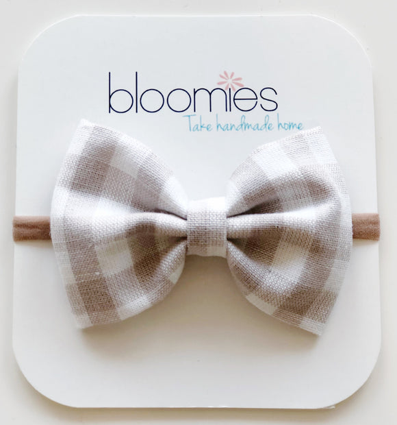 Grey Gingham Cotton Bow - Bloomies Handmade